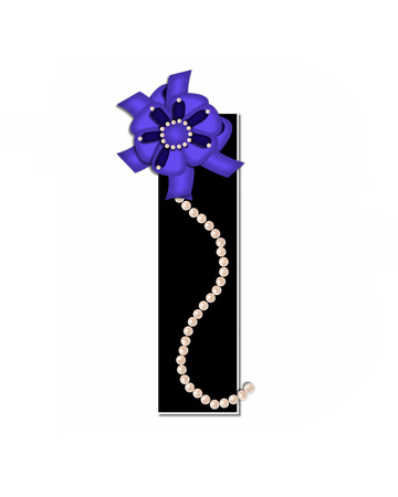 lay: The letter I, in the alphabet set Ribbon Trimmed, is black, outlined with white.  Letter is decorated with colorful bow trimmed with pearls.  Strands of pearls fall from bow and lay at bottom of letter.