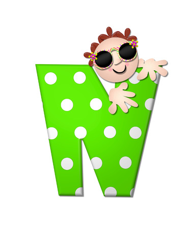 The letter N, in the alphabet set Bahama Sunny, is vivid green with large white polka dots.  Beach dude peeks his head in and around letter holding it with his hands.