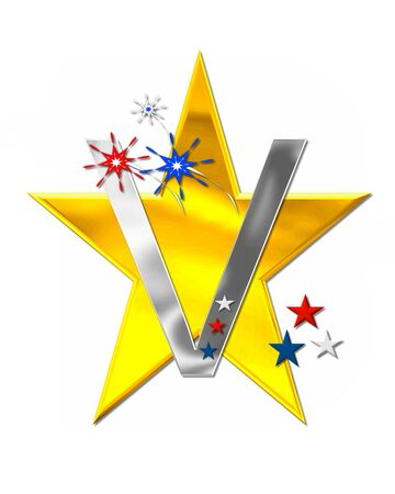 The letter V, in the alphabet set Patriotism is silver metalic.  Fireworks and stars decorate letter with red, white and blue.  Golden star serves as background. Stock Photo