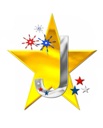 independance day: The letter J, in the alphabet set Patriotism is silver metallic.  Fireworks and stars decorate letter with red, white and blue.  Golden star serves as background. Stock Photo
