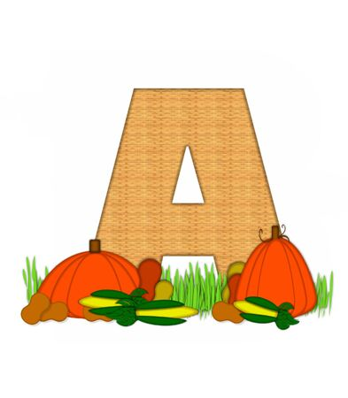 grassy field: The letter A, in the alphabet set Blessed Bounty, is filled with wicker texture.  Letter sits in grassy field surrounded by Fall vegetables.