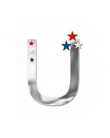 metalic: The letter U, in the alphabet set Plain Patriotism is silver metalic.  Three stars decorate letter with red, white and blue.  Letters coordinate with Alphabet Patriotism. Stock Photo