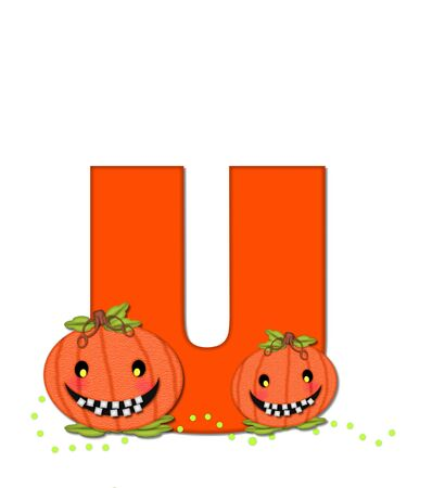 toothy: The letter U, in the alphabet set Pumpkin Head, is bright orange. Letter is decorated with smiling, toothy pumpkins and green polka dots. Stock Photo