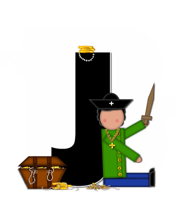 scrap gold: The letter J, in the alphabet set Children Pirates, is black outlined with white.  Children play pirates with wooden sword, treasure chest, gold and pearls. Stock Photo