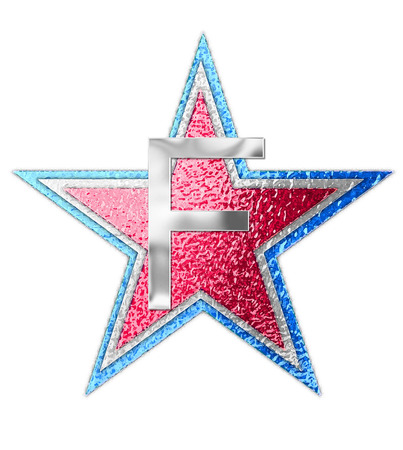 The letter F, in the alphabet set All Star is silver metalic.  Three stars of red, white and blue form background.