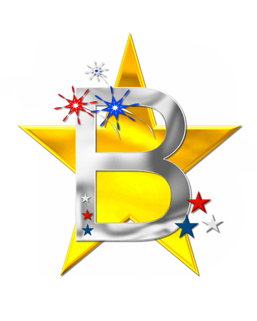 The letter B, in the alphabet set Patriotism is silver metalic.  Fireworks and stars decorate letter with red, white and blue.  Golden star serves as background.