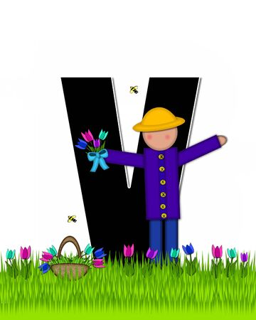 The letter V, in the alphabet set Children Tulip Patch is black outlined with white.  Children hold tulip bouquet and stand in colorful tulip patch.