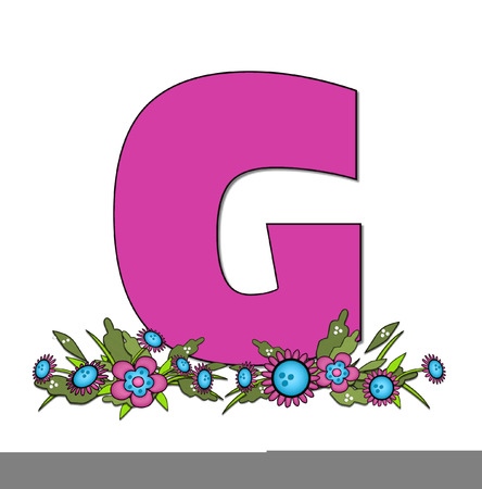 The letter G, in the alphabet set Country Lane Two is pink with black outline.  Letter sits on arrangement of country flowers in pink and blue.