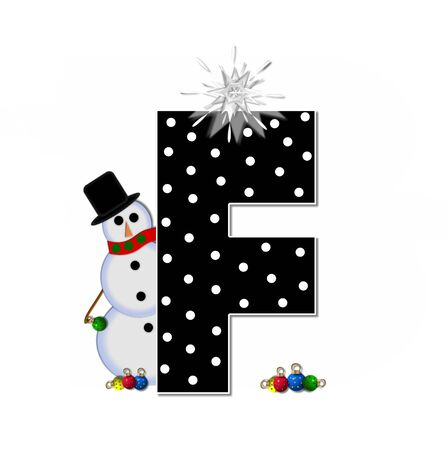 topped: The letter F, in the alphabet set Frosty, is black and decorated with a snowman and Christmas ornaments.  Snowman is wearing a red scarf and alphabet letter is topped with a glowing white star.