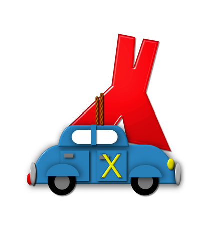 hauling: The letter X, in the alphabet set Alphabet On the Go is tied with rope to transportation vehicles in different colors, shapes and sizes.  Letter is 3D, red and ready to GO!