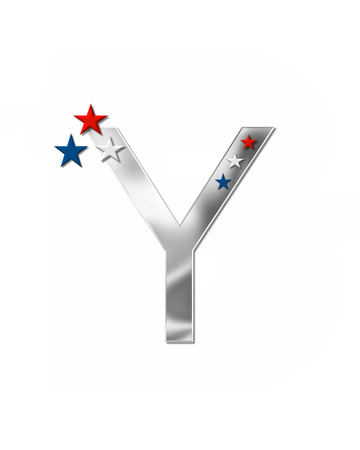 armed services: The letter Y, in the alphabet set Plain Patriotism is silver metalic.  Three stars decorate letter with red, white and blue.  Letters coordinate with Alphabet Patriotism.