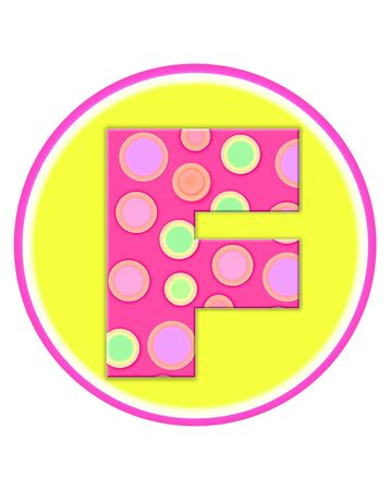 The letter F, in the alphabet set Circle Party is decorated with polka dots in pink, green and orange.  Letter sits on a two color circle of yellow and pink.