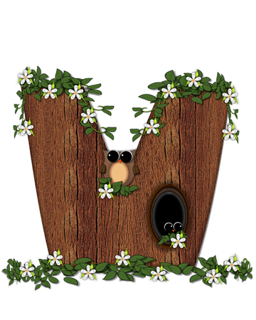 The letter V, in the alphabet set Log Home is filled with wood texture.  Flower bloom on vines hanging on letter.  One owl hides in knothole and the other outside the stump home. Stock Photo
