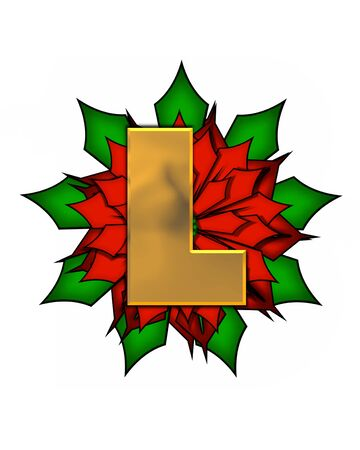 metalic: The letter L, in the alphabet set Christmas Poinsettia is shiny gold metallic.  Letter sits on a large red, poinsettia.