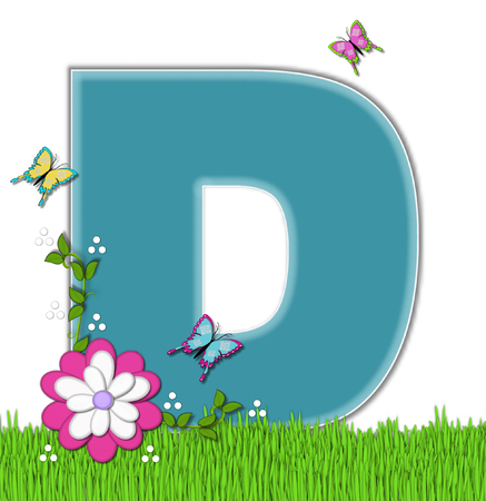 flower vines: The letter D, in the alphabet set Happy Springtime, is turquoise.  Letter is sitting on bright green grass and is decorated with flower and vines.  Butterflies flutter around letter.