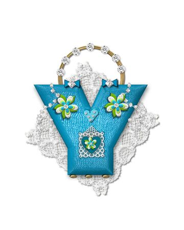The letter Y, in the alphabet set Bling Bag, depicts aqua letter as a blinged out purse with gold handle.  Letter has lace, diamonds and flowers.  Background framing letter is a lace handkerchief.