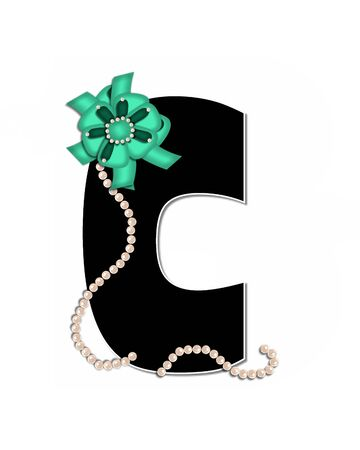 The letter C, in the alphabet set Ribbon Trimmed, is black, outlined with white.  Letter is decorated with colorful bow trimmed with pearls.  Strands of pearls fall from bow and lay at bottom of letter.