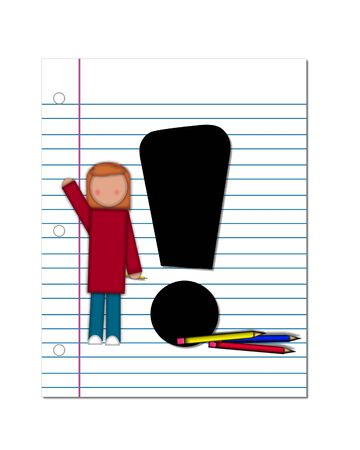 coordinates: Exclamation Point, in the alphabet set Start of School Two, is black.  Exclamation Point is sitting on a blank piece of notebook paper and is decorated with pencils and student.  This set coordinates with Alphabt Start of School.