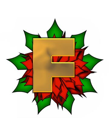 The letter F, in the alphabet set Christmas Poinsettia is shiny gold metallic.  Letter sits on a large red, poinsettia.