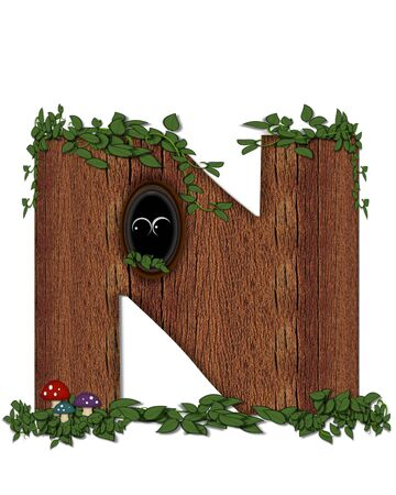 The letter N, in the alphabet set Log is filled with wod texture.  Vines and colorful mushrooms grow around letter.  Some letters have knot holes with peeking eyes.