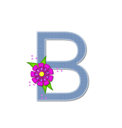 dandy: The letter B, in the alphabet set Denim Dandy, is filled with light blue denim.  Letter is decorated with bright colored flower with polka dots.