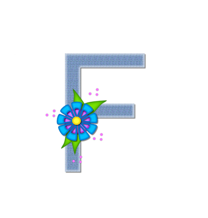 dandy: The letter F, in the alphabet set Denim Dandy, is filled with light blue denim.  Letter is decorated with bright colored flower with polka dots. Stock Photo