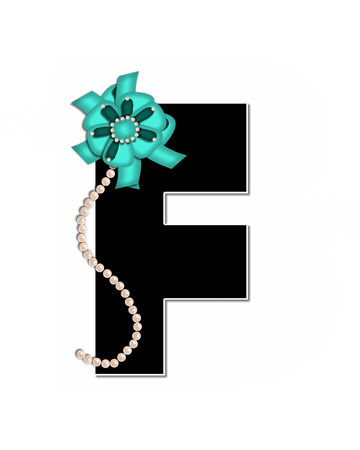The letter F, in the alphabet set Ribbon Trimmed, is black, outlined with white.  Letter is decorated with colorful bow trimmed with pearls.  Strands of pearls fall from bow and lay at bottom of letter.