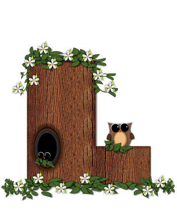 knothole: The letter L, in the alphabet set Log Home is filled with wod texture.  Flower bloom on vines hanging on letter.  One owl hides in knothole and the other outside the stump home.