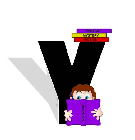genre: The letter Y, in the alphabet set Absorbed in Reading, is black and decorated with books and people absorbed in reading.  Stark shadow hangs behind letter.  Books have genre printed on spine binding.