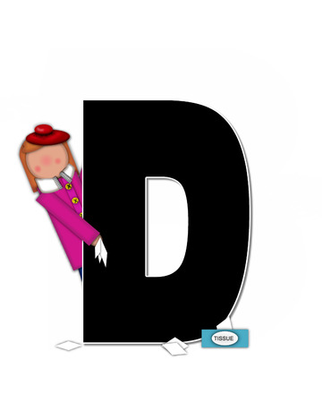 sickness: The letter D, in the alphabet set Children Sickness is black and trimmed with white.  Child is wearing a scarf, and treating an illness or sickness with tissues and medicine.