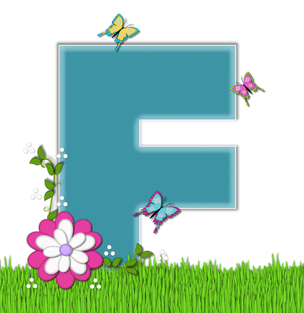 flutter: The letter F, in the alphabet set Happy Springtime, is turquoise.  Letter is sitting on bright green grass and is decorated with flower and vines.  Butterflies flutter around letter.