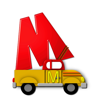 The letter M, in the alphabet set Alphabet On the Go is tied with rope to transportation vehicles in different colors, shapes and sizes.  Letter is 3D, red and ready to GO! Stock Photo
