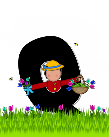 The letter Q, in the alphabet set Children Tulip Patch is black outlined with white.  Children hold tulip bouquet and stand in colorful tulip patch.
