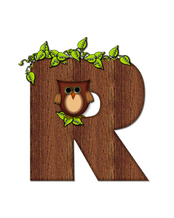 The letter R, in the alphabet set Woodsy Owl is filled with wood texture.  3D vines hang on letter.  Letter is decorated with a brown owl.