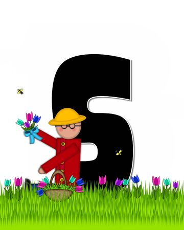 The letter S, in the alphabet set Children Tulip Patch is black outlined with white.  Children hold tulip bouquet and stand in colorful tulip patch.