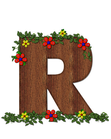 ivy vine: The letter R, in the alphabet set Woodsy Owl is filled with wood texture.  3D flowers hand on vines surrounding letter. Stock Photo