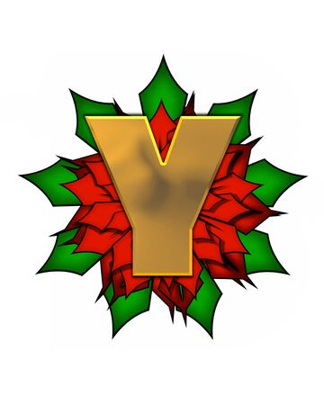 The letter Y, in the alphabet set Christmas Poinsettia is shiny gold metallic.  Letter sits on a large red, poinsettia.