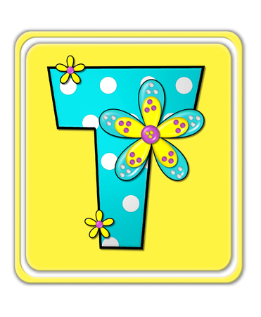 t square: The letter T, in the alphabet set Bright Begonia, is teal with white polka dots.  2D flowers decorate letter in yellow, pink and teal.  Letter sits on bright yellow square.