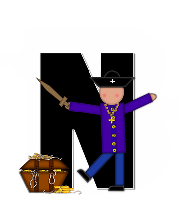 loot: The letter N, in the alphabet set Children Pirates, is black outlined with white.  Children play pirates with wooden sword, treasure chest, gold and pearls.