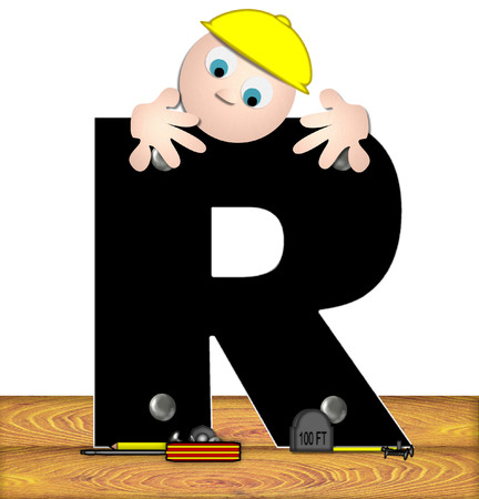 inspecting: The letter R, in the alphabet set Construction Worker, is black with silver nails embedded in letter.  Construction worker bends over inspecting letter.  Tools sit beside letter on wooden planks. Stock Photo