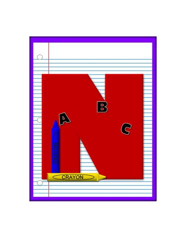 decorate notebook: The letter N, in the alphabet set Grade School Homework  is  red and and sits on background of notebook paper.  Crayons and ABCs decorate letter.