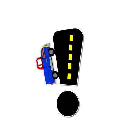 """point exclamation: Exclamation Point, dans l'alphabet set """"Transport par route"""", est noir avec la ligne de démarcation jaune représentant une route haut noir. Colorful, véhicule motorisé navigue en dehors de la lettre. Banque d'images"""