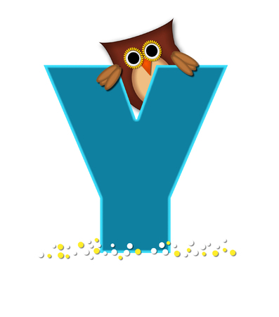 The letter Y, in the alphabet set Owl  is turquoise.  It is decorated with a brown owl and white and yellow polka dots.