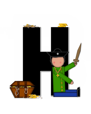 scrap gold: The letter H, in the alphabet set Children Pirates, is black outlined with white.  Children play pirates with wooden sword, treasure chest, gold and pearls. Stock Photo