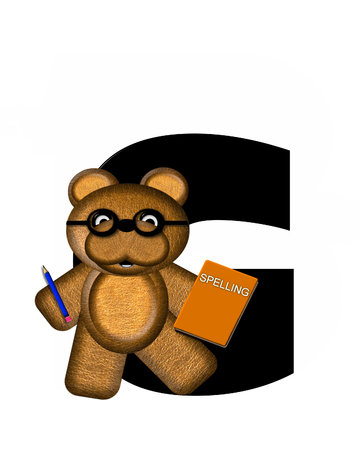 he: The letter G, in the alphabet set Teddy Learning, is black. Teddy bear decorates letter and he is wearing glasses.  Books and pencils surround him.