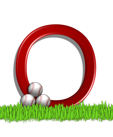 The letter O, in the alphabet set Baseball, is red.  Three baseballs decorate 3D letter.  All sit in a field of green grass.