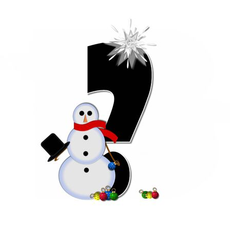 Question mark, in the alphabet set Frosty, is black and decorated with a snowman and Christmas ornaments.  Snowman is wearing a red scarf and alphabet letter is topped with a glowing white star. Stock Photo