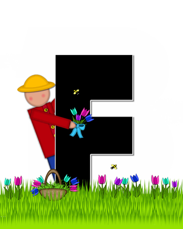 The letter F, in the alphabet set Children Tulip Patch is black outlined with white.  Children hold tulip bouquet and stand in colorful tulip patch. Stock fotó