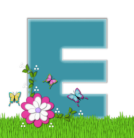 flutter: The letter E, in the alphabet set Happy Springtime, is turquoise.  Letter is sitting on bright green grass and is decorated with flower and vines.  Butterflies flutter around letter.