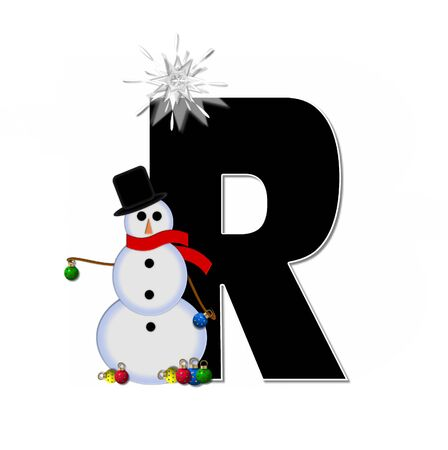 typographiy: The letter R, in the alphabet set Frosty, is black and decorated with a snowman and Christmas ornaments.  Snowman is wearing a red scarf and alphabet letter is topped with a glowing white star.